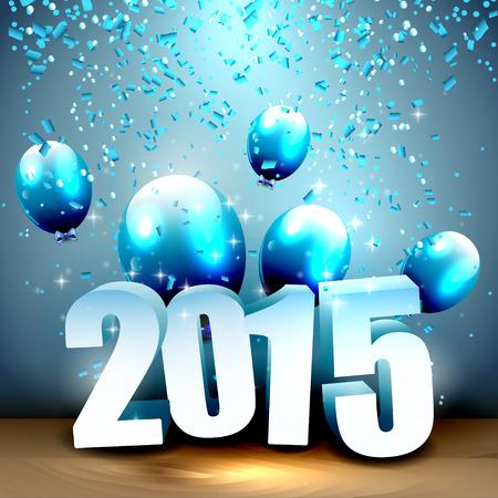 nieuwjaar: Gelukkig Nieuwjaar 2015 - blauwe wenskaart met 3D-nummers, ballonnen en confetti Stock Illustratie