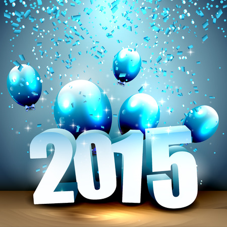 Happy New Year 2015 - blue greeting card with 3D numbers, balloons and confetti