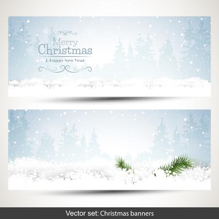 雪とテキストのための場所の 2 つの水平方向のクリスマス バナーの設定  イラスト・ベクター素材
