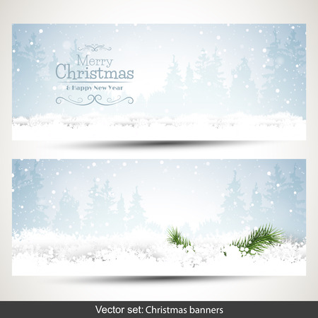 Set of two horizontal Christmas banners with snow and place for text Vector