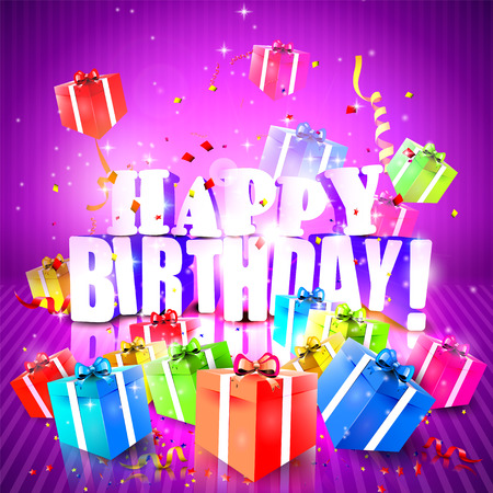 Colorful birthday background with gift boxes Vector