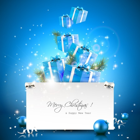 bright card: Flying gift boxes and paper with place for text - Christmas greeting card Illustration