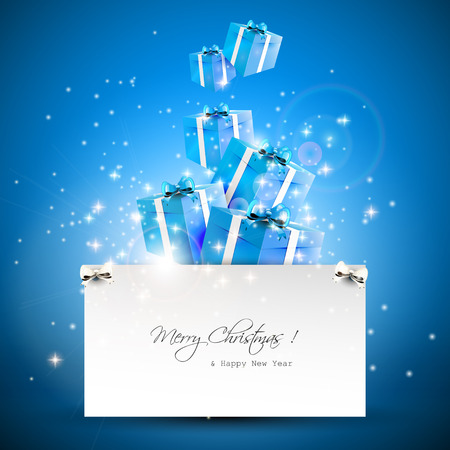 Flying gift boxes and paper with place for text - Christmas greeting card Vector