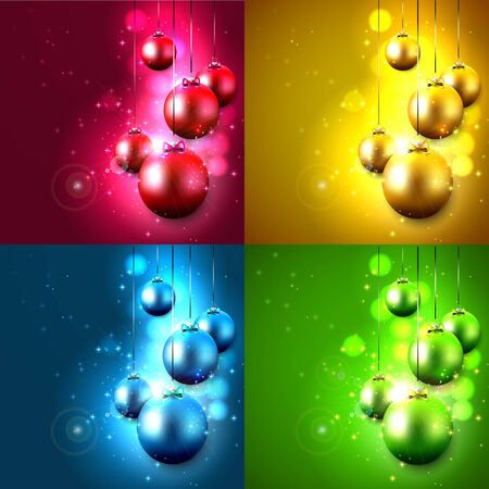 Set of four Christmas backgrounds with baubles
