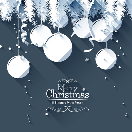 Modern Christmas greeting card - flat design style Vector