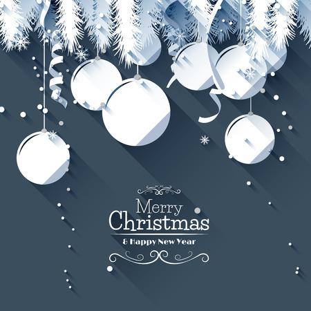 natale: Moderna Christmas greeting card - stile di design piatto Vettoriali