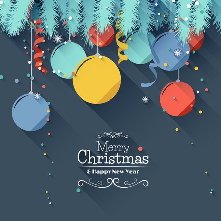 christmas ball: Modern Christmas greeting card - flat design style