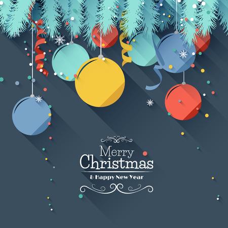 natale: Moderna Natale biglietto di auguri - design di stile piatto Vettoriali