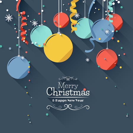 traditional celebrations: Modern Christmas greeting card - flat design style