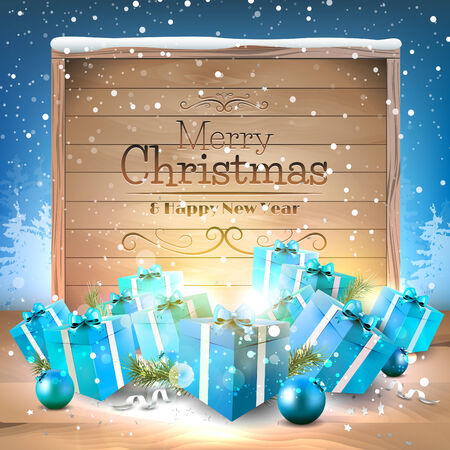 Christmas greeting card with blue gift boxes and wooden sign Vector
