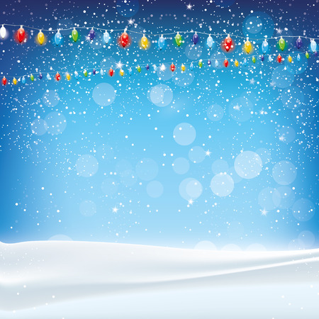 Blue Christmas background with lights and snow