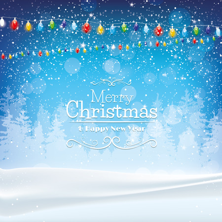 christmas holiday background: Blue Christmas background with lights and snow