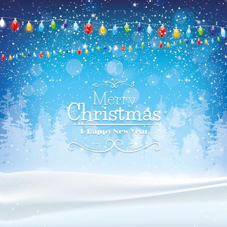 navide�os: Navidad azul de fondo con las luces y la nieve