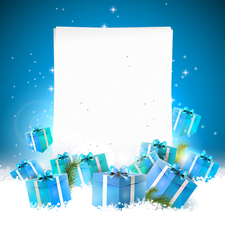 Blue Christmas greeting card with gift boxes in the snow and empty paper Vettoriali