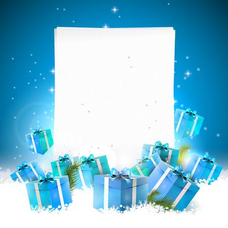 azul: Tarjeta de felicitación azul de Navidad con cajas de regalo en la nieve y el papel vacío
