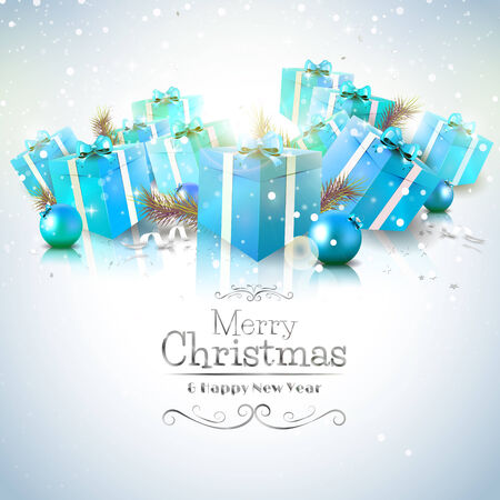 Luxury Christmas greeting card with blue gift boxes and calligraphic lettering Illusztráció