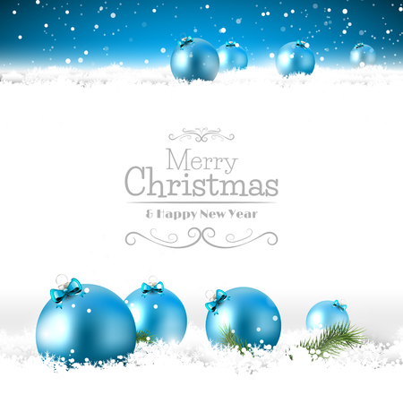 christmas decorations: Blue Christmas greeting card with baubles in the snow