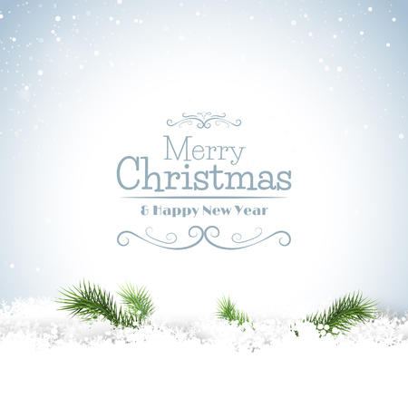 Christmas greeting card with branches in the snow and calligraphic lettering Vector