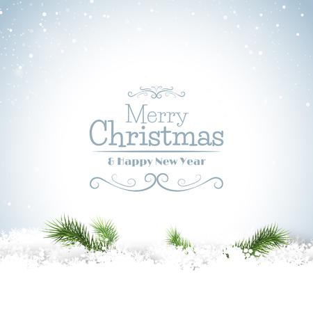 Karácsonyi üdvözlőlap ágak a hó és a kalligrafikus betűkkel Illusztráció