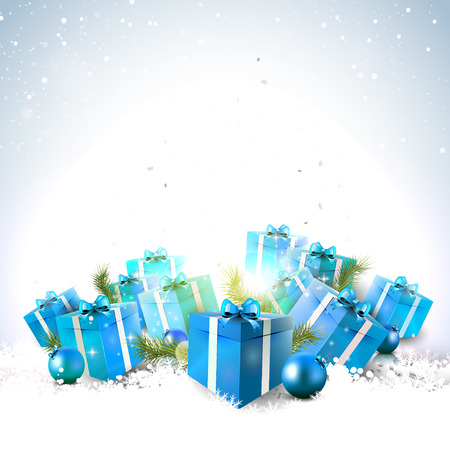 Blue gift boxes in the snow - Christmas background