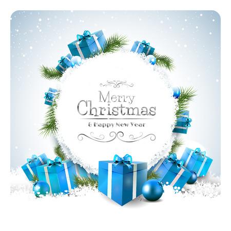 Tarjeta de felicitación de Navidad con cajas de regalo en la nieve Foto de archivo - 32440448