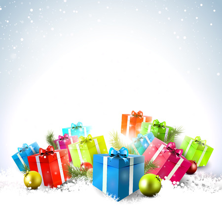 christmas gift: Colorful gift boxes in the snow - Christmas background