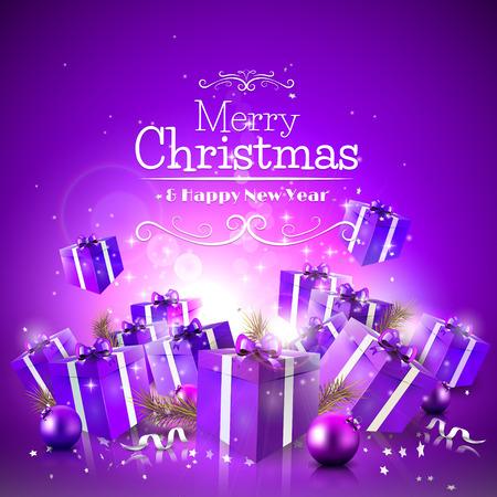 Tarjeta de felicitación de Navidad de lujo con cajas de regalo de color púrpura y adornos
