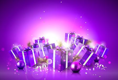 Fondo de lujo de la Navidad con cajas de regalo de color púrpura y adornos