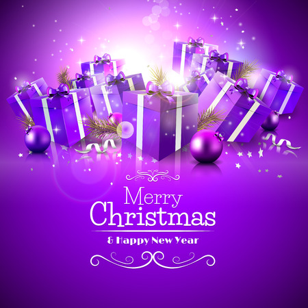 Luxury Christmas greeting card with purple gift boxes and calligraphic lettering Vector