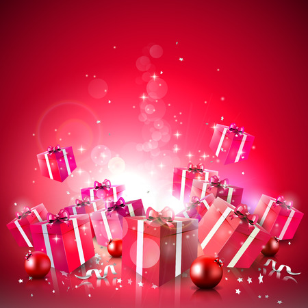 Luxury Christmas background with red gift boxes and baubles