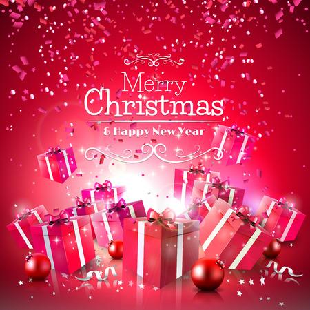 Luxe Kerst achtergrond met rode geschenk dozen en kerstballen