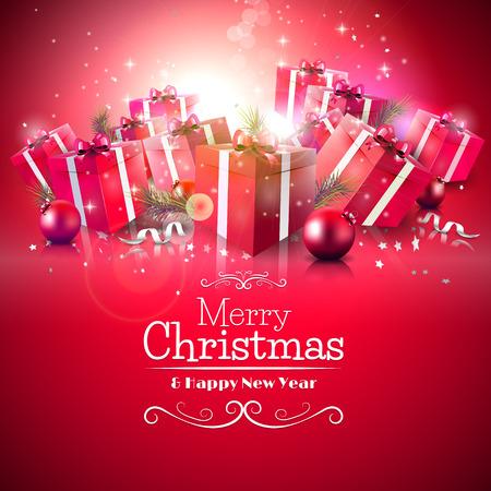 card background: Lusso Auguri di Natale con scatole regalo rosso e scritta calligrafica