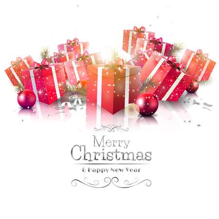 Tarjeta de felicitación de Navidad de lujo con cajas de regalo de color rojo y las letras caligráficas