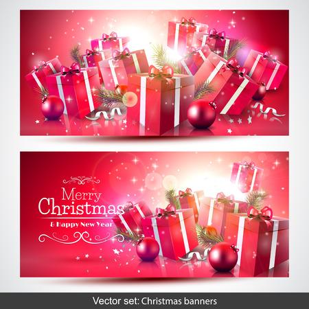 the decor: conjunto de rojos Navidad pancartas con cajas de regalo