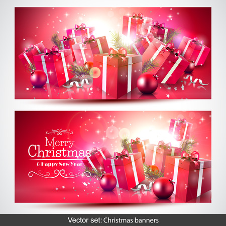 set of red Christmas banners with gift boxes