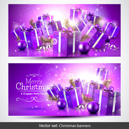 set of purple Christmas banners with gift boxes