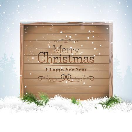 Biglietto di auguri di Natale segno di legno in mezzo alla neve