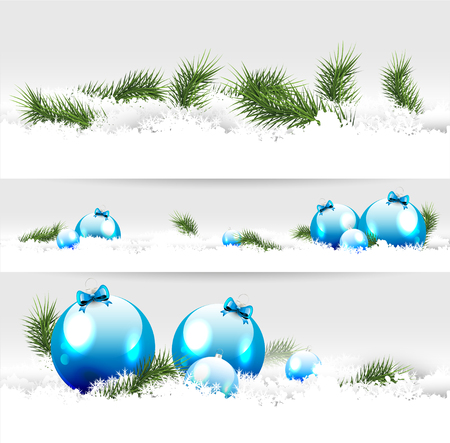 Set of three Christmas borders with blue baubles and branches Vector