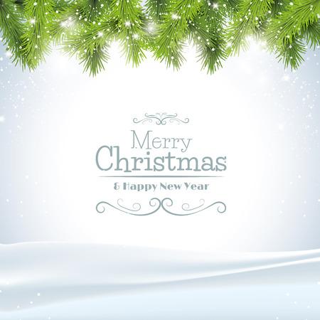 christmas: Ağaç dalları ile Noel tebrik kartı