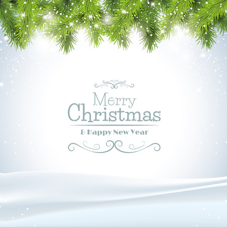 natale: Biglietto di auguri di Natale con rami di albero