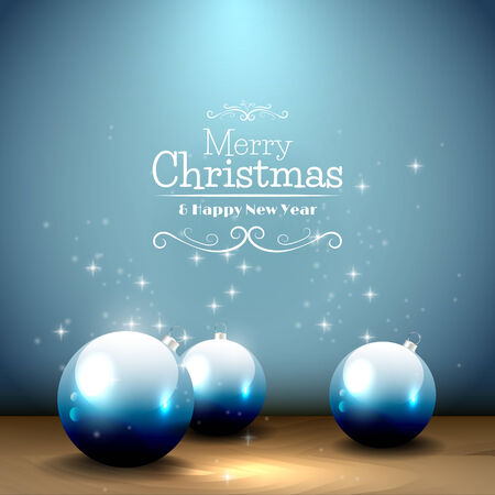 Christmas greeting card with baubles on the blue background Vector