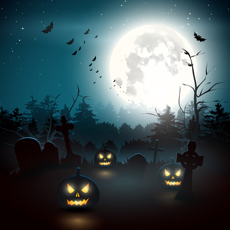 spooky graveyard: Scary graveyard in the woods, Halloween background