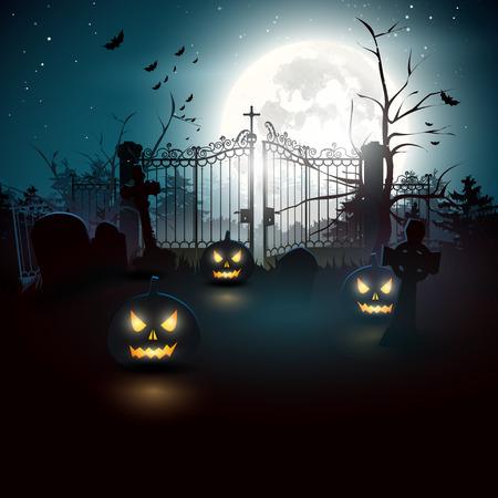 graveyard: Halloween graveyard in the woods