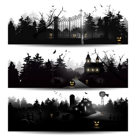 set of three Halloween silhouettes Vector