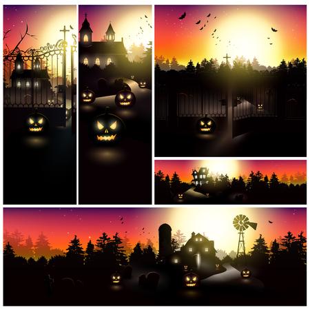 eerie: Big set of five Halloween banners Illustration