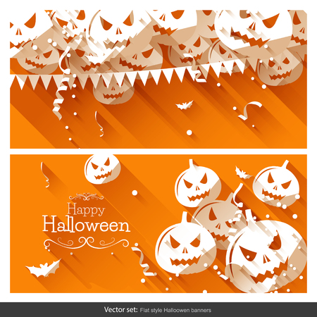 Halloween party banners - flat design style Vector