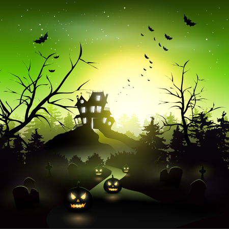 Scary house and graveyard in the woods Vector