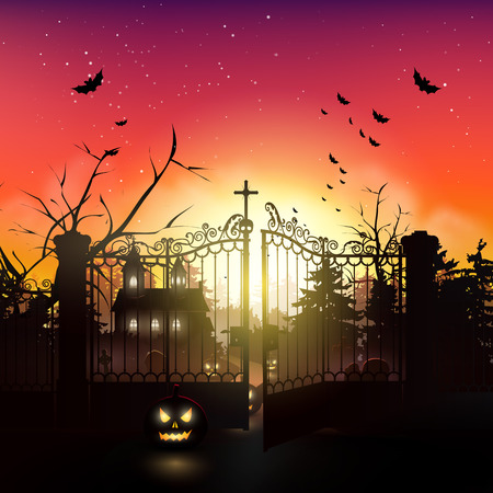 Scary kerk en kerkhof in het bos - Halloween wenskaart Stock Illustratie