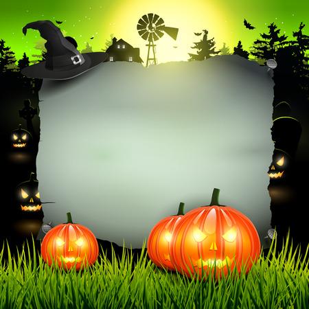 calabazas de halloween: Cartel de Halloween con lugar para el texto