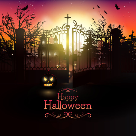 halloween tree: Scary church and graveyard in the woods - Halloween greeting card